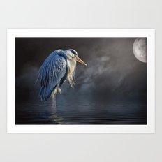 Blue Heron Moon Art Print