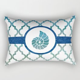 Seashell: Tropical Water Moroccan Pattern Rectangular Pillow