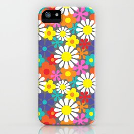 Retro Hippie Flowers Pattern on Grey iPhone Case
