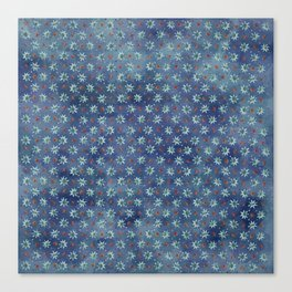 Amazing Watercolor Snowflakes Pattern on the dark blue background Canvas Print