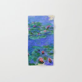 Claude Monet Waterlilies Red Hand & Bath Towel