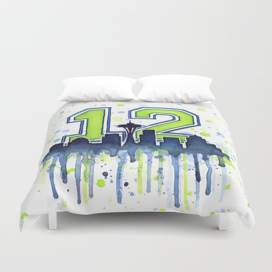 Hawks 12th Man Fan Art Duvet Cover