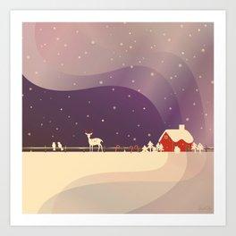 Peaceful Snowy Christmas (Plum Purple) Art Print