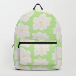 Watercolor Magnolias in Key Lime Backpack
