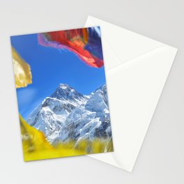 Summit of mount Everest or Chomolungma - highest mountain in the world, view from Kala Patthar,Nepal Stationery Cards
