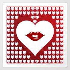 Loving Hearts and Lips Art Print