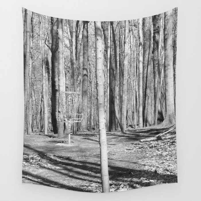 Black And White Disc Golf Basket Wall Tapestry