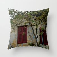 greek Throw Pillows featuring Greek Cottage by Upperleft Studios