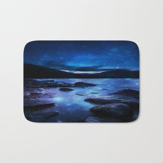 Magical Mountain Lake Dark Blue Bath Mat