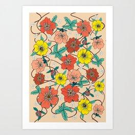 Potentillas and Daisies Art Print