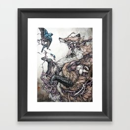 Red Fox and Indigo Bunting Framed Art Print