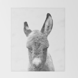 Black and White Baby Donkey Throw Blanket