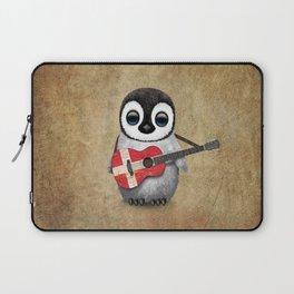 Baby Penguin Playing Danish Flag Acoustic Guitar Laptop Sleeve