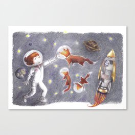 Foxes in space Canvas Print