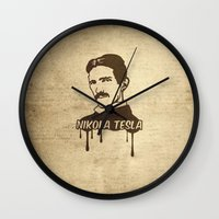 tesla Wall Clocks featuring Nikola Tesla  by badbugs_art
