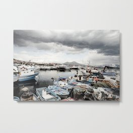 Naples View with Clouds Metal Print
