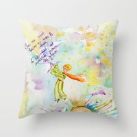 le petit prince Throw Pillows featuring Le Petit Prince- The little Prince flying by Colorful Simone