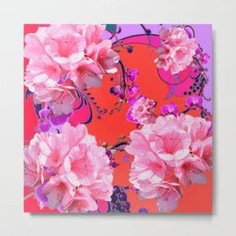 Delicate White & Pink Flower Blossoms Coral Art Metal Print