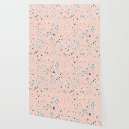Turquoise Shimmery Terrazzo on Pink Wallpaper
