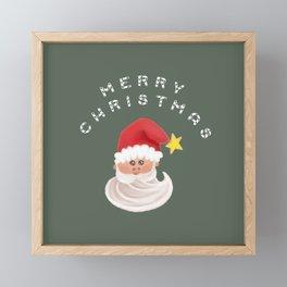 Merry Christmas & Santa - Green Framed Mini Art Print