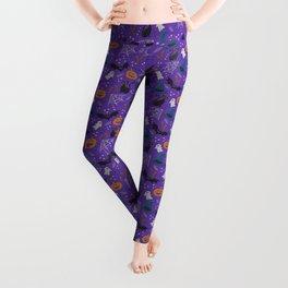 Halloween realistic embroidery print on purple Leggings