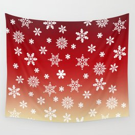 Snow Flurries-Red/Cream Ombre Wall Tapestry