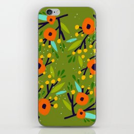 Leta Floral in Olive Green - Vintage Retro Flowers - Digital Painting iPhone Skin