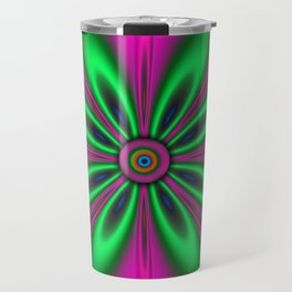 Psychedelic Flower Pinks Greens Travel Mug