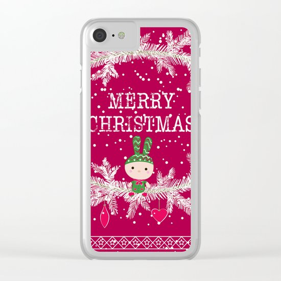 Merry christmas and happy new year greeting card wreath with cute toy bunny background Clear iPhone Case