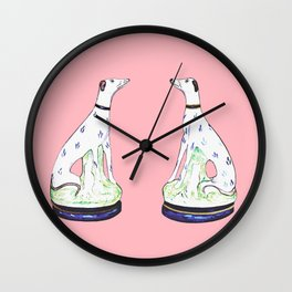 STAFFORDSHIRE GREYHOUND TWINS Wall Clock