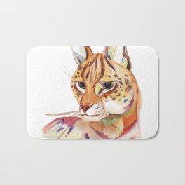 Serval wild cat watercolor Bath Mat