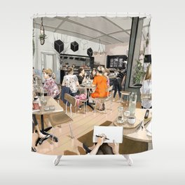 Coracle Cafe Shower Curtain