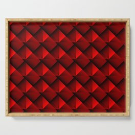 Abstract fish scales from red braided squares with bright futuristic checkers.  Serving Tray