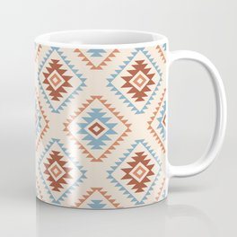 Aztec Style Motif Pattern Blue Cream Terracottas Coffee Mug
