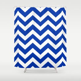 UA blue - blue color -  Zigzag Chevron Pattern Shower Curtain