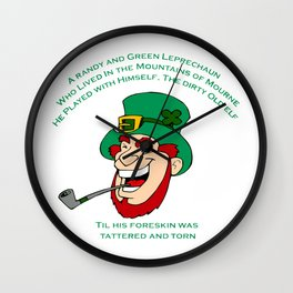 A Randy And Green Leprechaun St Patrick's Day Limerick Wall Clock