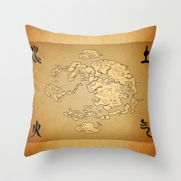 Avatar Last Airbender Map Throw Pillow