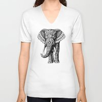 navajo V-neck T-shirts featuring Navajo Elephant by BIOWORKZ
