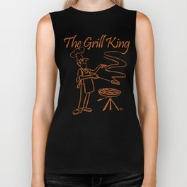 The Grill King Funny Chef Cook Grilling BBQ Meat Biker Tank
