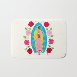 Skull Virgin of Guadalupe_ Hand embroidered Bath Mat