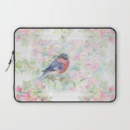 Bullfinch Bird in the Rose Garden Laptop Sleeve