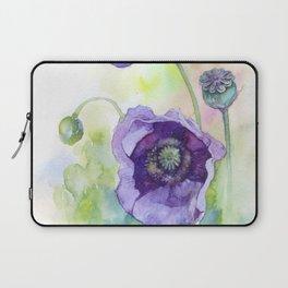 Watercolor blue poppy flowers Laptop Sleeve