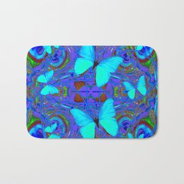 BLUE NEON BUTTERFLIES &  BLUE LINE PURPLE DRAWING Bath Mat