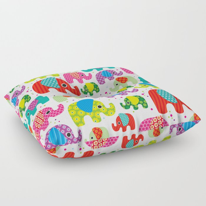 Colorful india elephant kids illustration pattern Floor Pillow by ...