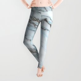 Aqua, Azure, and Heather-Gray Marble Leggings