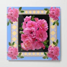 BABY BLUE-CREAM PINK ROSE CLUSTER ART Metal Print