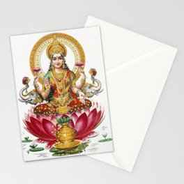 Hindu Goddess Lakshmi Indian Asia Yoga Meditation Stationery Cards