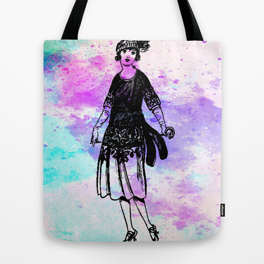 Vintage Girl Abstract Watercolor Tote Purse by Violetheavensky (TBG9594387) photo