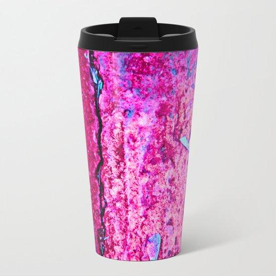 Neon Pink Road Metal Travel Mug