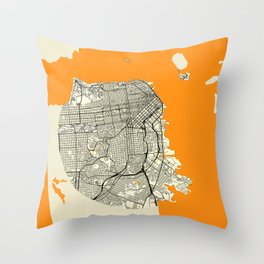 San Francisco Map Moon Throw Pillow